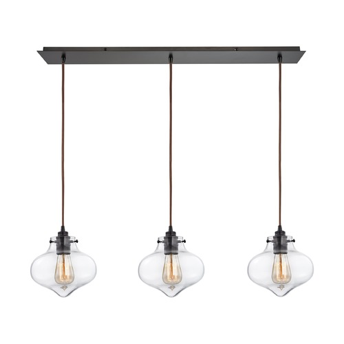 Elk Lighting Elk Lighting Kelsey Oil Rubbed Bronze Multi-Light Pendant with Bowl / Dome Shade 31954/3LP