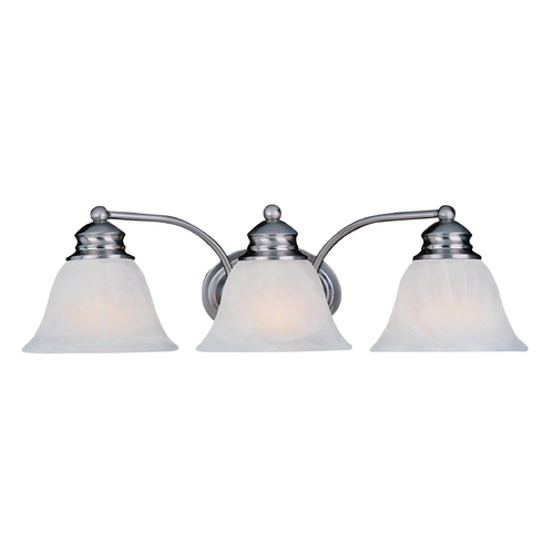 Maxim Lighting Bathroom Light with Alabaster Glass Shades in Satin Nickel Finish 2688MRSN