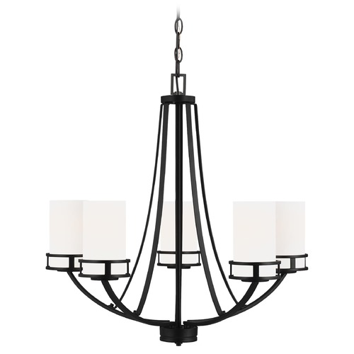 Sea Gull Lighting Robie Midnight Black 5 Lt. Chandelier with Etched White Glass  3121605-112