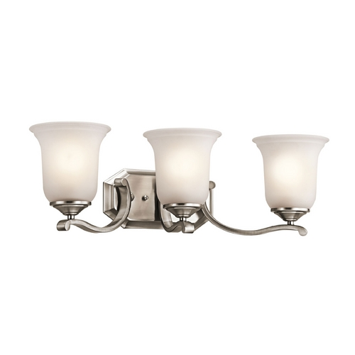 Kichler Lighting Kichler Bathroom Light with White Glass in Classic Pewter Finish 45403CLP