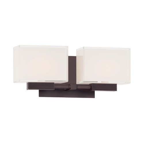George Kovacs Lighting Modern Bathroom Light with White Glass in Dorian Bronze Finish P5212-615B