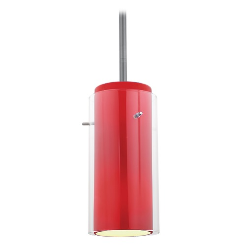 Access Lighting Modern Mini-Pendant Light with Red Glass 28033-1R-BS/CLRD