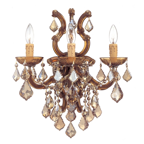 Crystorama Lighting Crystal Sconce Wall Light in Antique Brass Finish 4433-AB-GTS