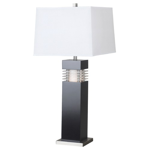 Kenroy Home Lighting Modern Table Lamp with White Shade in Black Finish 20109BL