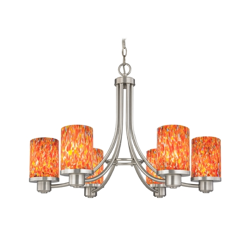 Design Classics Lighting Modern Chandelier with Art Glass in Satin Nickel Finish 588-09 GL1012C