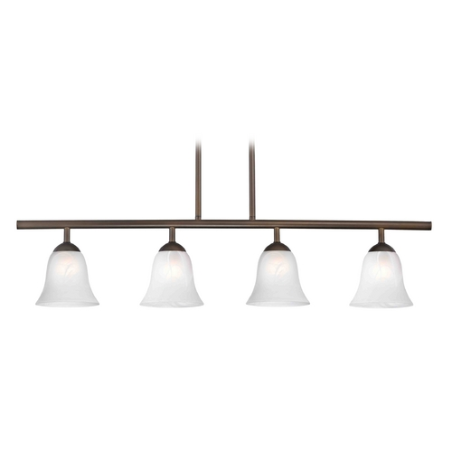 Design Classics Lighting Modern Island Light with Alabaster Glass in Bronze Finish 718-220 GL9222-ALB