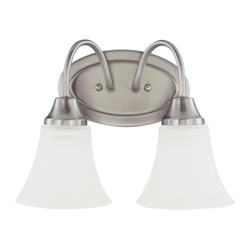 Sea Gull Lighting Bathroom Light with White Glass in Brushed Nickel Finish 44806-962