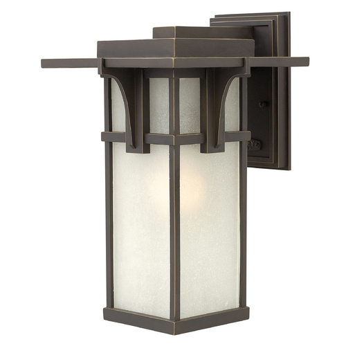 Hinkley Lighting Etched Seeded Glass LED Outdoor Wall Light Oil Rubbed Bronze Hinkley Lighting 2234OZ-LED