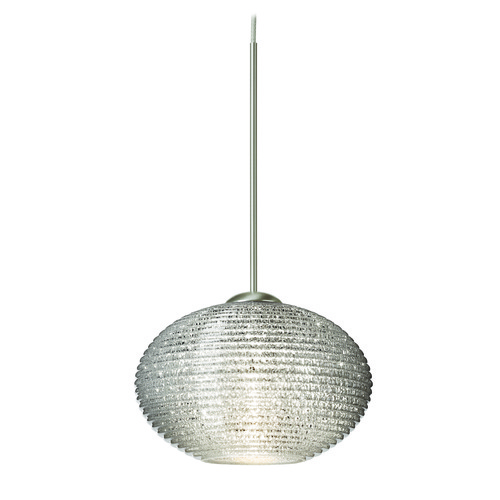 Besa Lighting Besa Lighting Lasso Ribbed Glass Satin Nickel Mini-Pendant Light 1XT-5612GL-SN