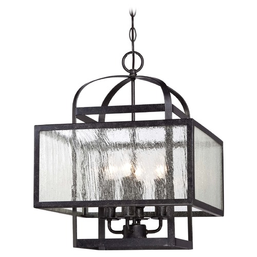 Minka Lavery Minka Camden Square Aged Charcoal Pendant Light with Square Shade 4875-283