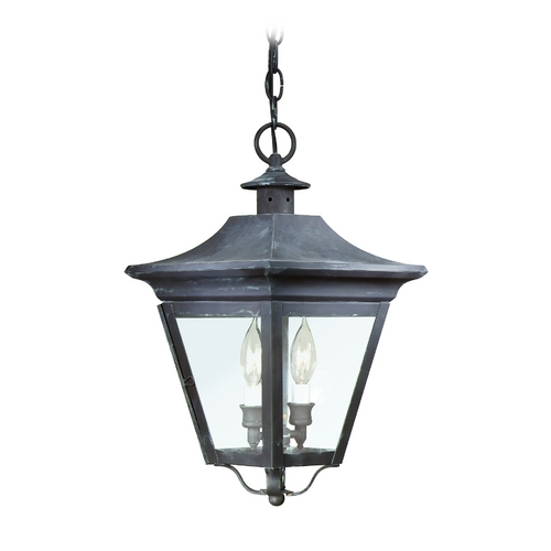 Troy Lighting Outdoor Hanging Light with Clear Glass in Natural Rust Finish F8932NR