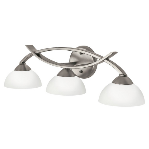 Kichler Lighting Kichler Modern Bathroom Light with White Glass in Pewter Finish 45163AP