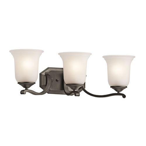 Kichler Lighting Kichler Bathroom Light with White Glass in Olde Bronze Finish 45403OZ