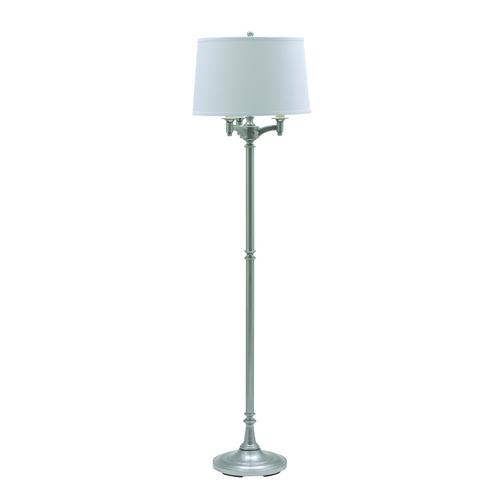 House of Troy Lighting Floor Lamp with White Shade in Satin Nickel Finish L800-SN