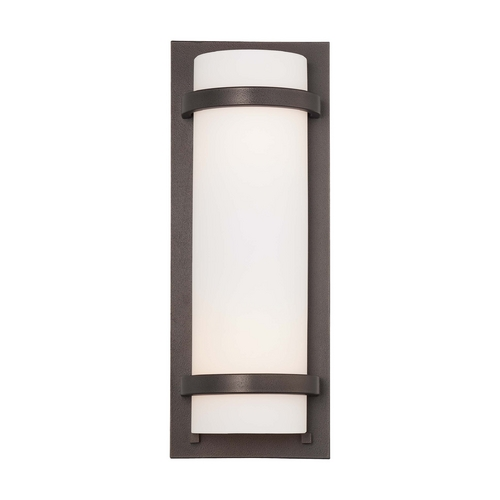 Minka Lighting Sconce Wall Light with White Glass in Smoked Iron Finish 341-172