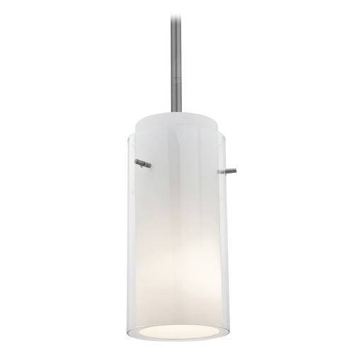 Access Lighting Modern Mini-Pendant Light with White Glass 28033-1R-BS/CLOP