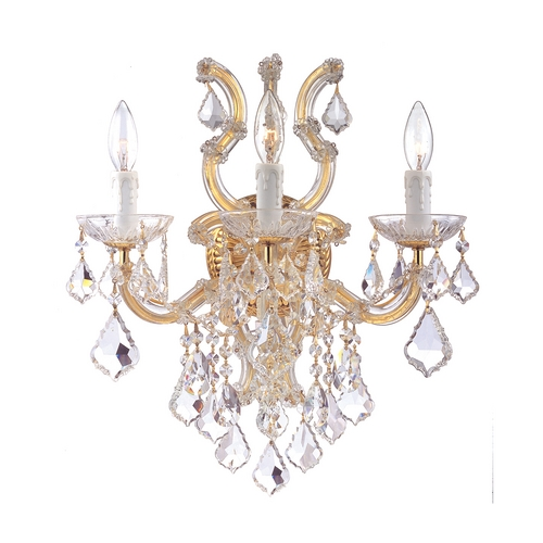 Crystorama Lighting Crystal Sconce Wall Light in Polished Gold Finish 4433-GD-CL-MWP