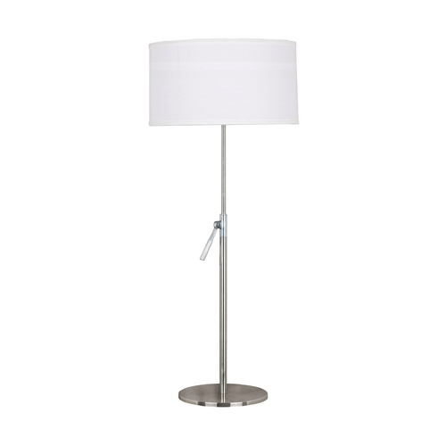 Kenroy Home Lighting Modern Table Lamp with White Shade in Brushed Steel Finish 20110BS