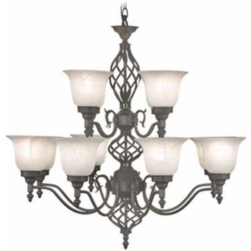 Design Classics Lighting Iron Finish Chandelier with 12 Lights  70092ES-43