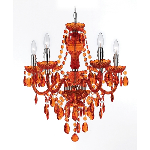 AF Lighting Chandelier in Orange Finish 8522-5H