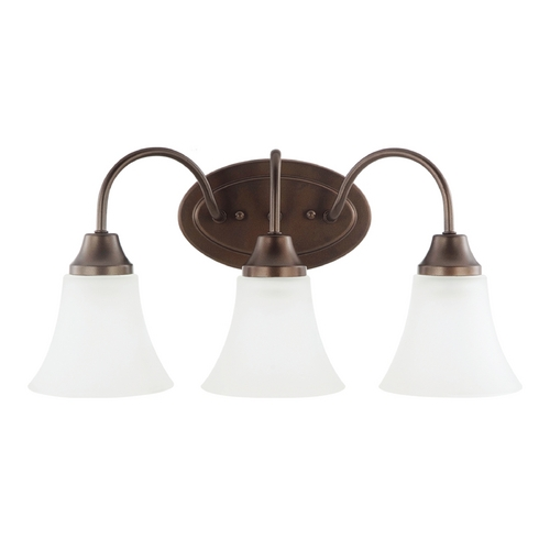 Sea Gull Lighting Bathroom Light with White Glass in Bell Metal Bronze Finish 44807-827