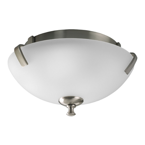 Progress Lighting Progress Flushmount Light with White Glass in Brushed Nickel Finish P3290-09EBWB