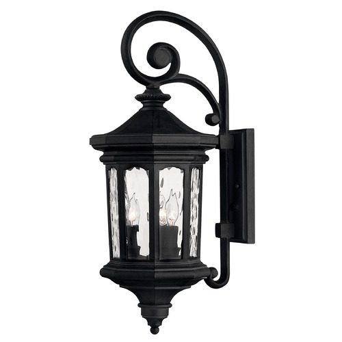 Hinkley Lighting Outdoor Wall Light with Clear Glass in Museum Black Finish 1604MB