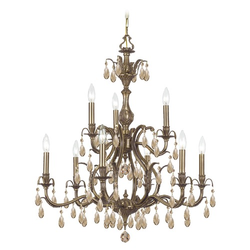 Crystorama Lighting Crystorama Dawson 2-Tier 9-Light Crystal Chandelier in Antique Brass 5569-AB-GTS