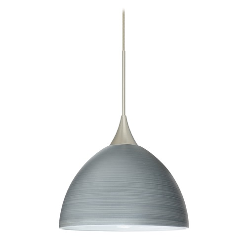 Besa Lighting Besa Lighting Brella Satin Nickel Mini-Pendant Light with Bowl / Dome Shade 1XT-4679TN-SN