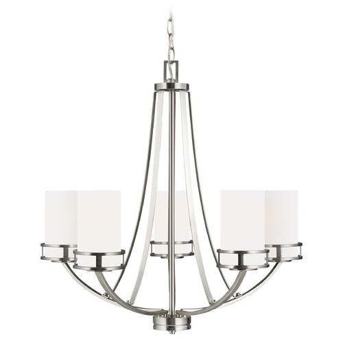 Sea Gull Lighting Robie Brushed Nickel 5 Lt. Chandelier with Etched White Glass 3121605-962