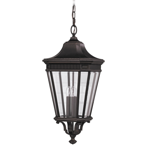 Feiss Lighting Outdoor Hanging Light with Clear Glass in Grecian Bronze Finish OL5412GBZ