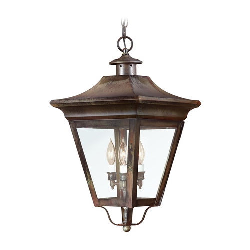 Troy Lighting Outdoor Hanging Light with Clear Glass in Charred Iron Finish F8935CI