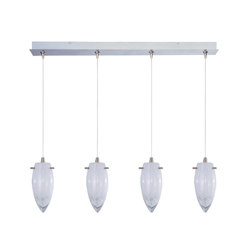 ET2 Lighting Modern Low Voltage Multi-Light Pendant Light with White Glass and 4-Lights E94941-113SN
