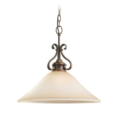 Sea Gull Lighting Pendant Light with Beige / Cream Glass in Russet Bronze Finish 65380-829