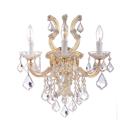 Crystorama Lighting Crystal Sconce Wall Light in Polished Gold Finish 4433-GD-CL-S