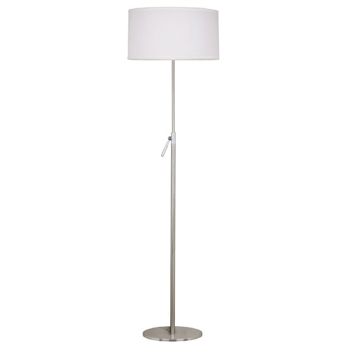Kenroy Home Lighting Modern Floor Lamp with White Shade in Brushed Steel Finish 20111BS