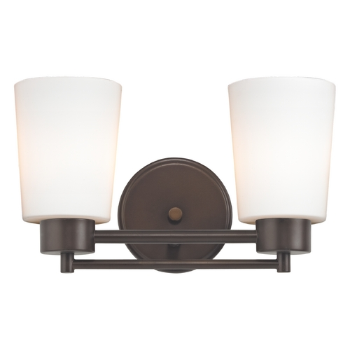 Design Classics Lighting Modern Bathroom Light with White Glass in Neuvelle Bronze Finish 702-220 GL1027