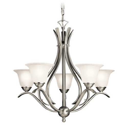 Kichler Lighting Kichler Chandelier with White Glass in Brushed Nickel Finish 2020NI