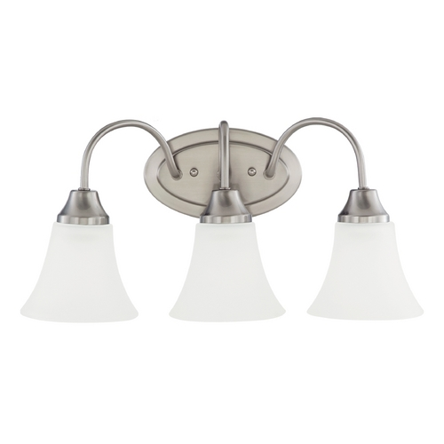 Sea Gull Lighting Bathroom Light with White Glass in Brushed Nickel Finish 44807-962