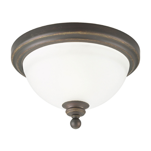Progress Lighting Progress Flushmount Light with White Glass in Antique Bronze Finish P3311-20