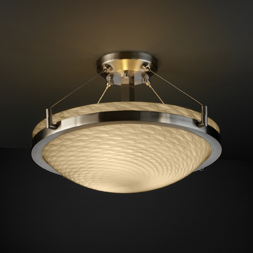 Justice Design Group Justice Design Group Fusion Collection Semi-Flushmount Light FSN-9681-35-WEVE-NCKL