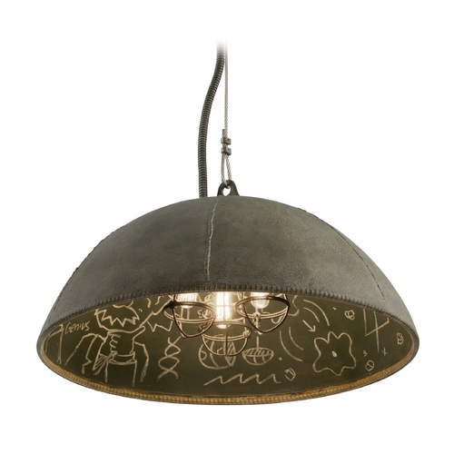 Troy Lighting Pendant Light in Salvage Zinc Exterior / Chalkboard Interior  Finish F3653
