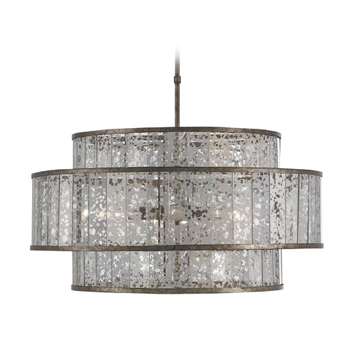 Currey and Company Lighting Currey and Company Lighting Fantine Pyrite Bronze / Raj Mirror Pendant Light with Drum Shade 9454