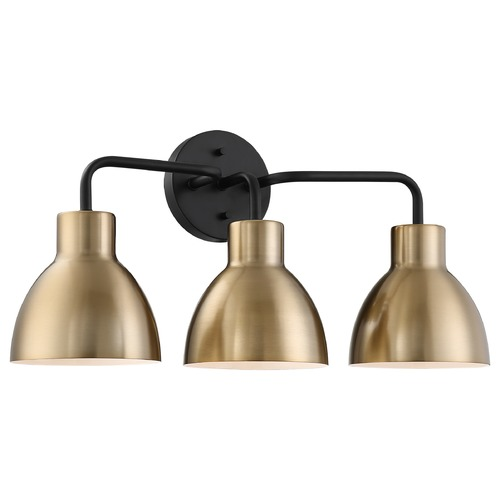 Nuvo Lighting Satco Lighting Sloan Matte Black / Burnished Brass Bathroom Light 60/6793