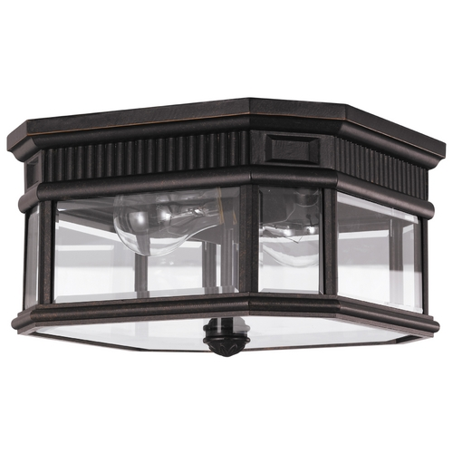 Feiss Lighting Close To Ceiling Light with Clear Glass in Grecian Bronze Finish OL5413GBZ