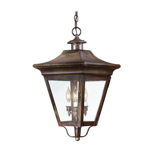 Troy Lighting Outdoor Hanging Light with Clear Glass in Natural Rust Finish F8935NR