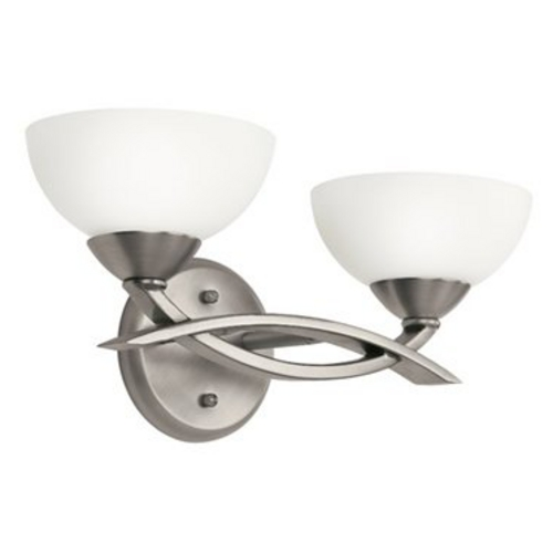 Kichler Lighting Kichler Modern Bathroom Light with White Glass in Pewter Finish 45162AP