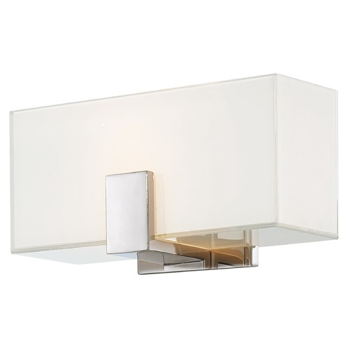 George Kovacs Lighting Modern Sconce Wall Light with White Glass in Polished Nickel Finish P5220-613