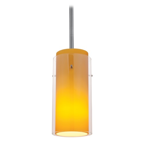 Access Lighting Modern Mini-Pendant Light with Amber Glass 28033-1R-BS/CLAM
