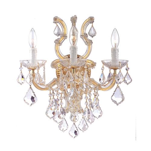 Crystorama Lighting Crystal Sconce Wall Light in Polished Gold Finish 4433-GD-CL-SAQ